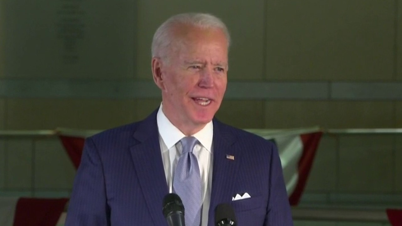 Joe Biden addresses supporters after primary wins in Mississippi, Missouri and Michigan