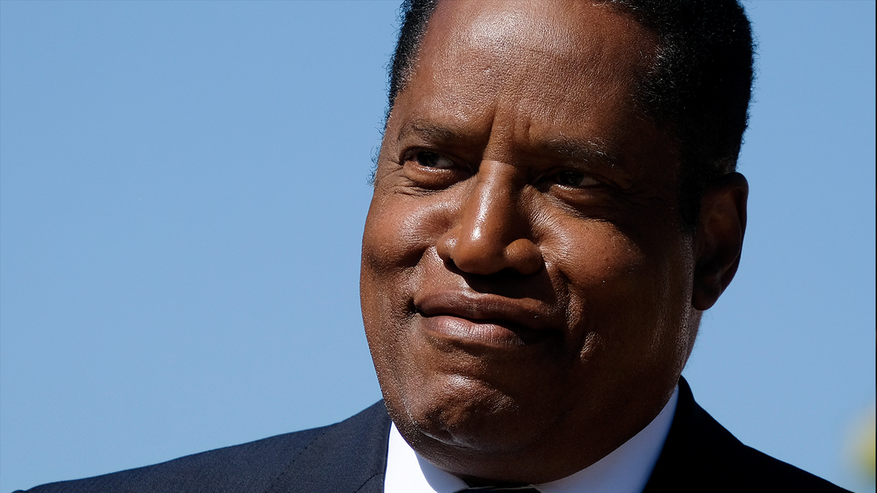 Larry Elder speaks to supporters following California recall election