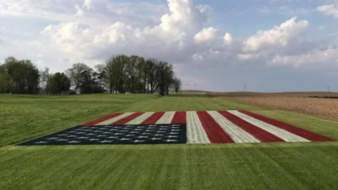 Indiana man paints enormous American flag to honor health care workers
