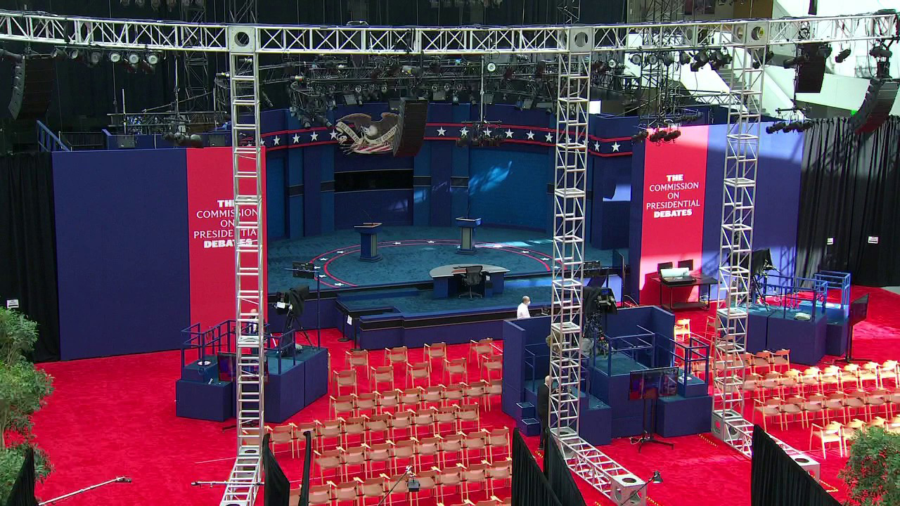 Live look at presidential debate hall in Cleveland
