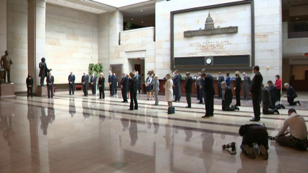 Senators kneel during moment of silence for George Floyd