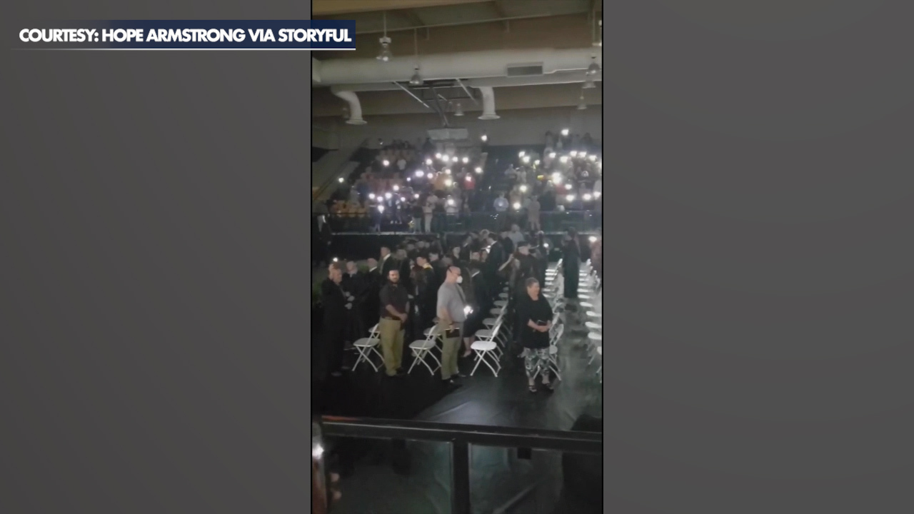 Phone flashlights save Texas high school's graduation ceremony after power outage