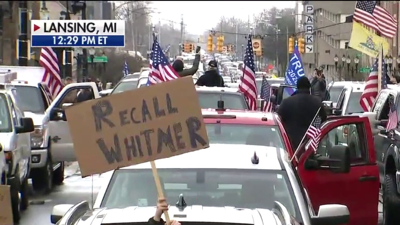 Michigan protesters hold in-vehicle rally against Gov. Whitmer