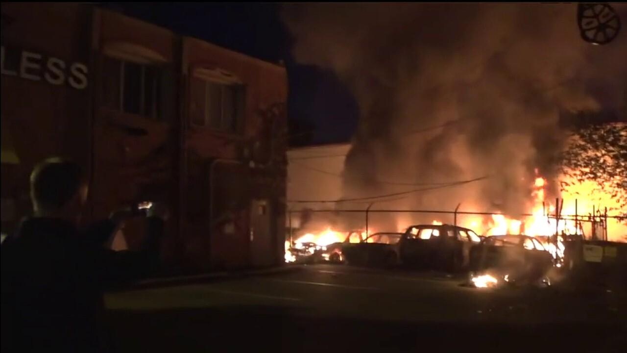Cars burn amid fresh riots in Minneapolis
