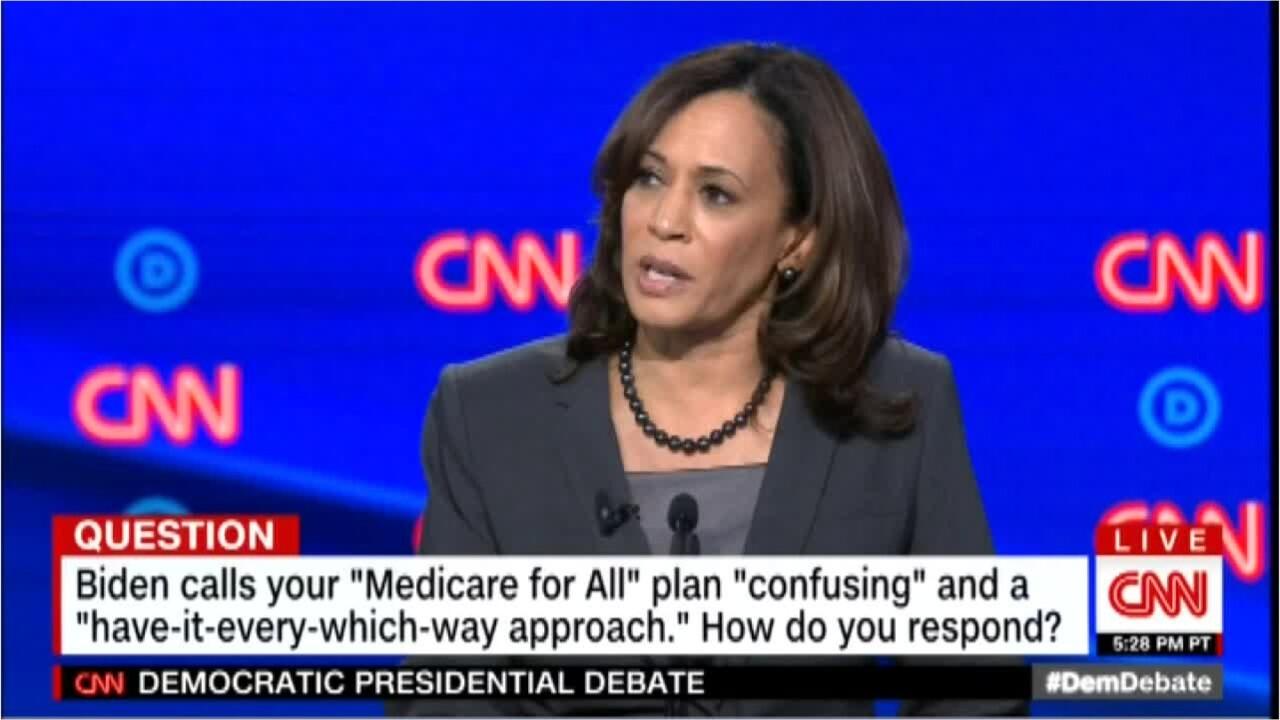 Sen. Kamala Harris and former VP Joe Biden clash over healthcare