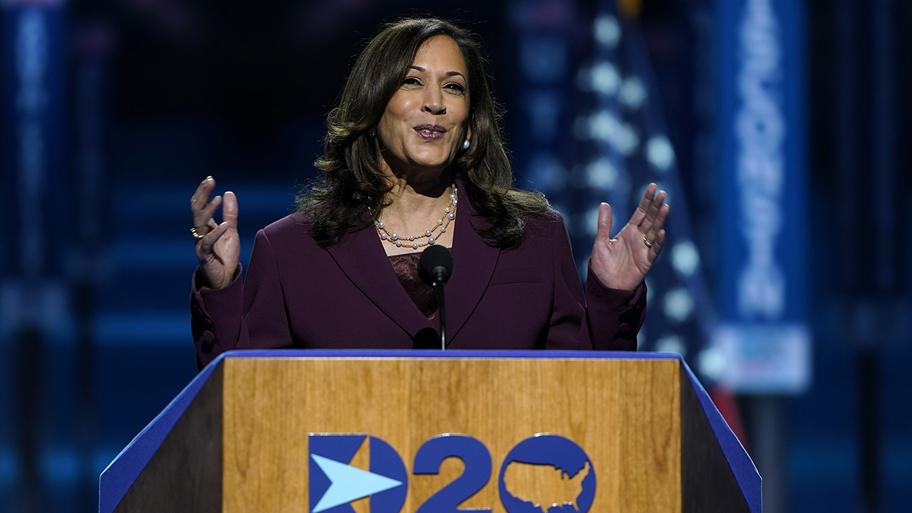 Democratic vice presidential nominee Kamala Harris speaks at the third night of the 2020 Democratic National Convention.