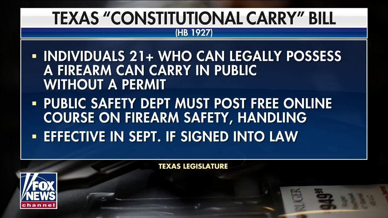 Texas poised to become next state to allow permit-free concealed weapon carry