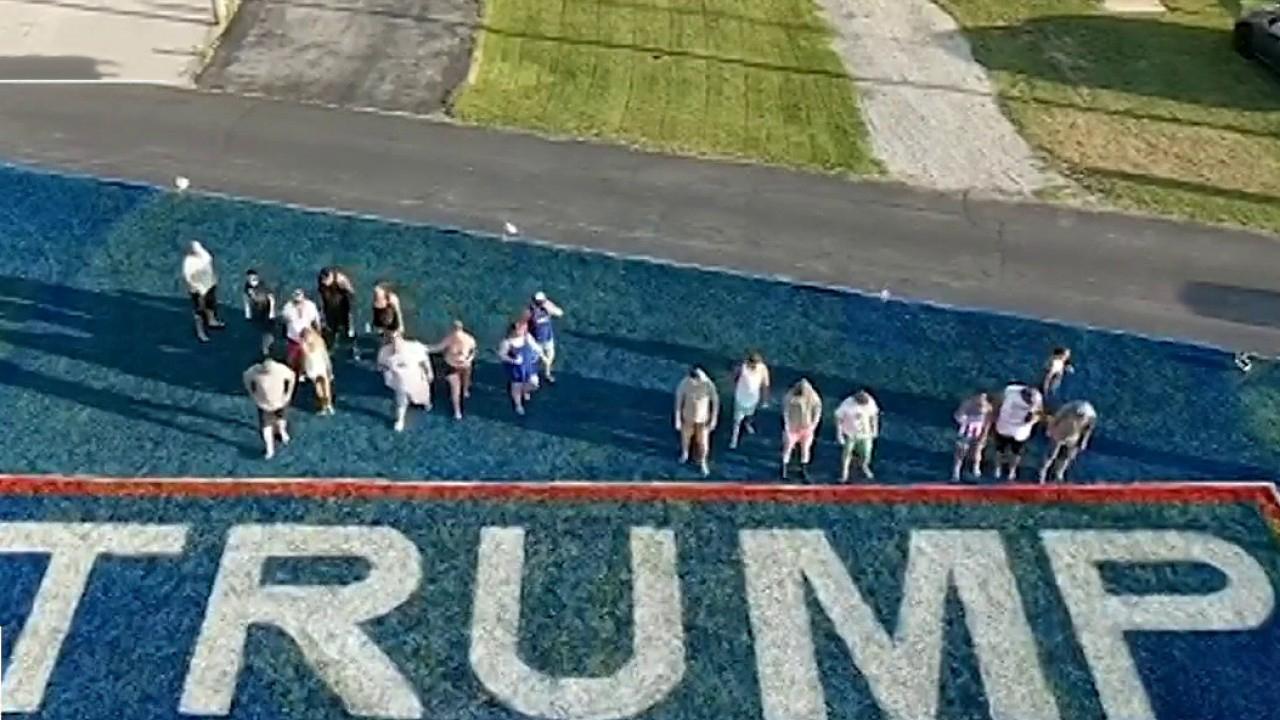 Ohio man transforms yard into giant Trump 2020 banner