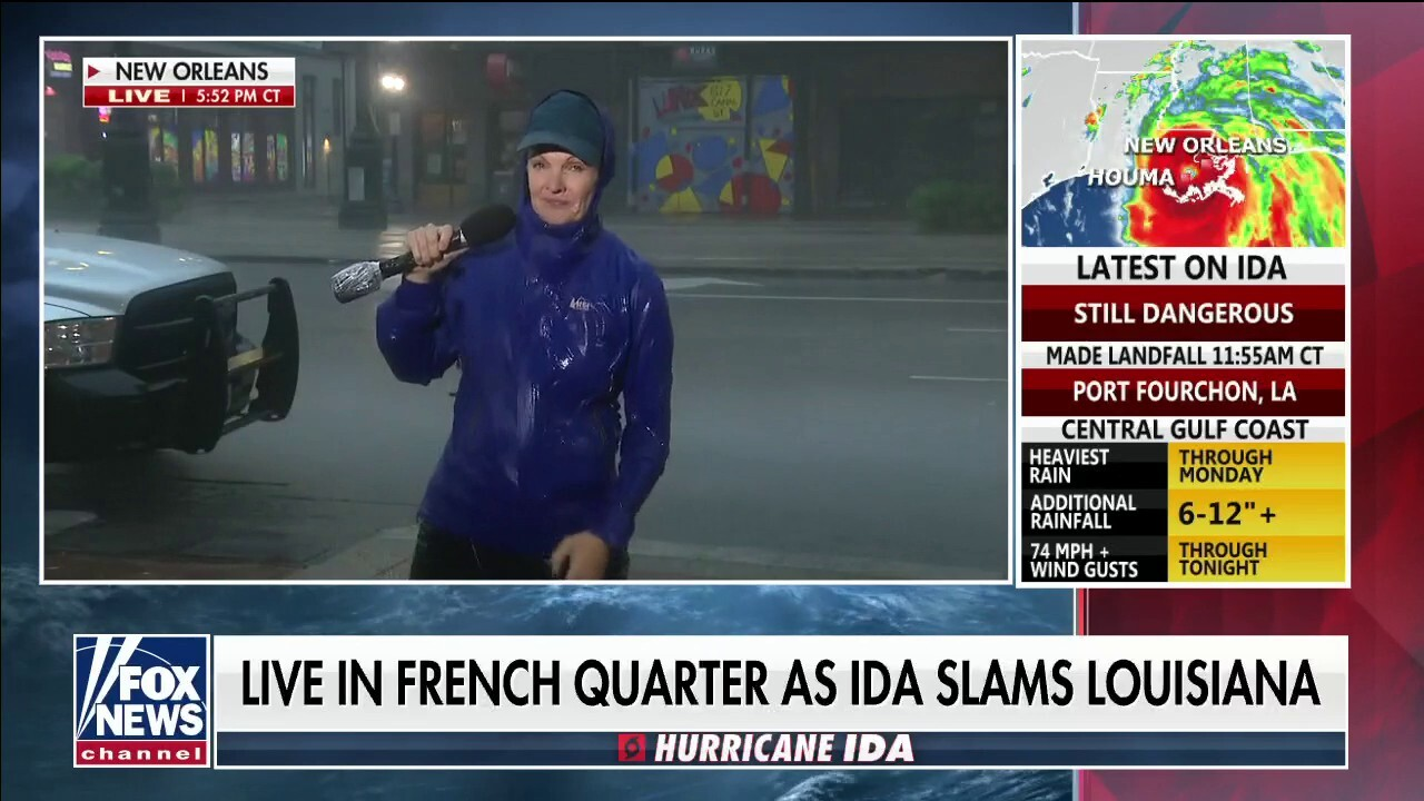 Caroline Shively reporting live from French Quarter, New Orleans on Hurricane Ida