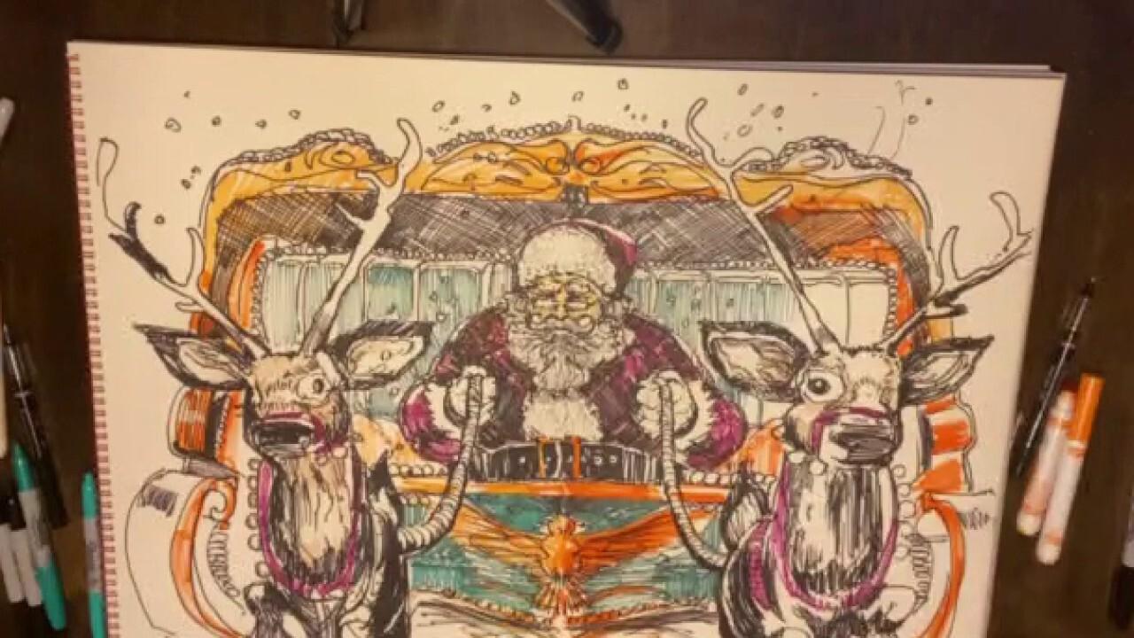 Artist Charlie Snogans finishes drawing of patriotic Santa Claus