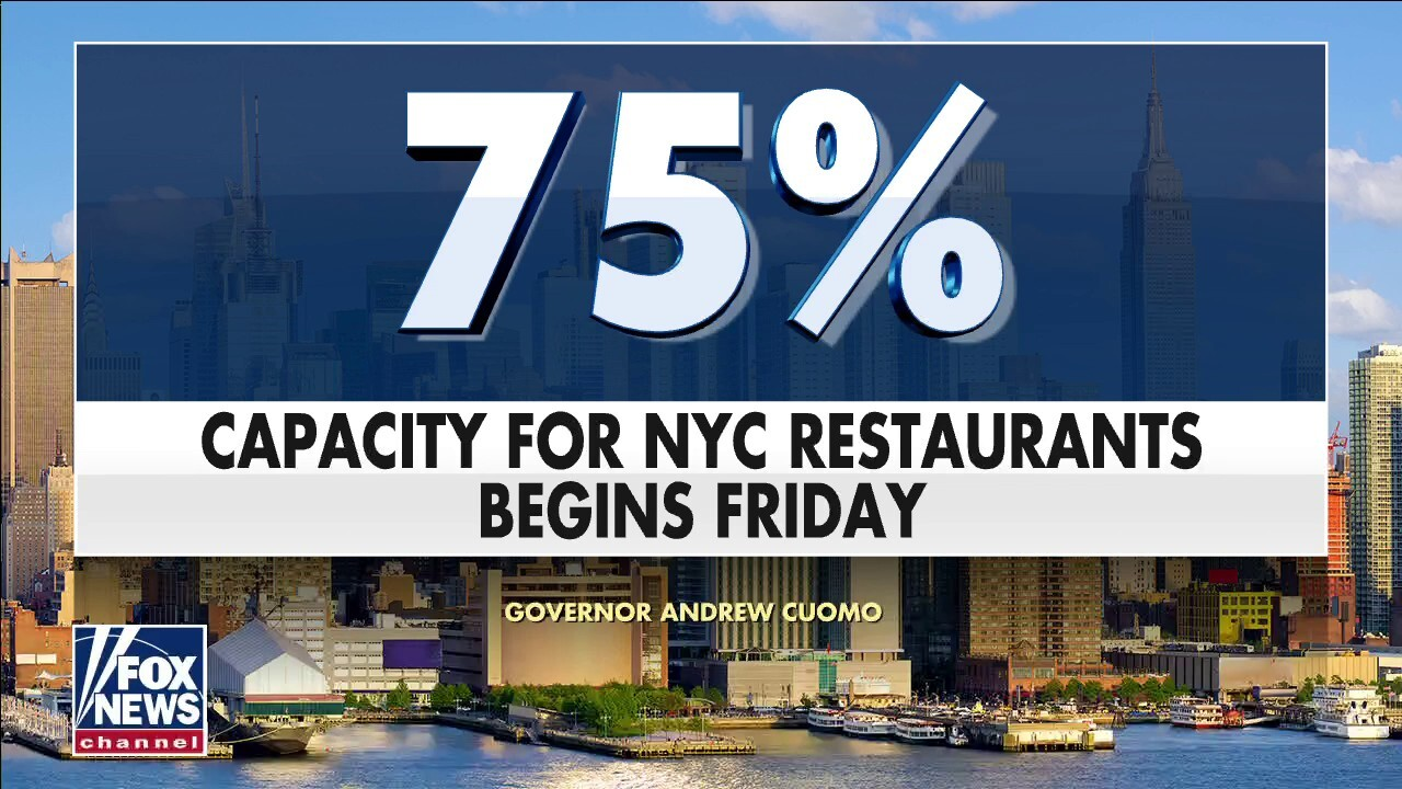New York City indoor dining capacity to expand to 75%