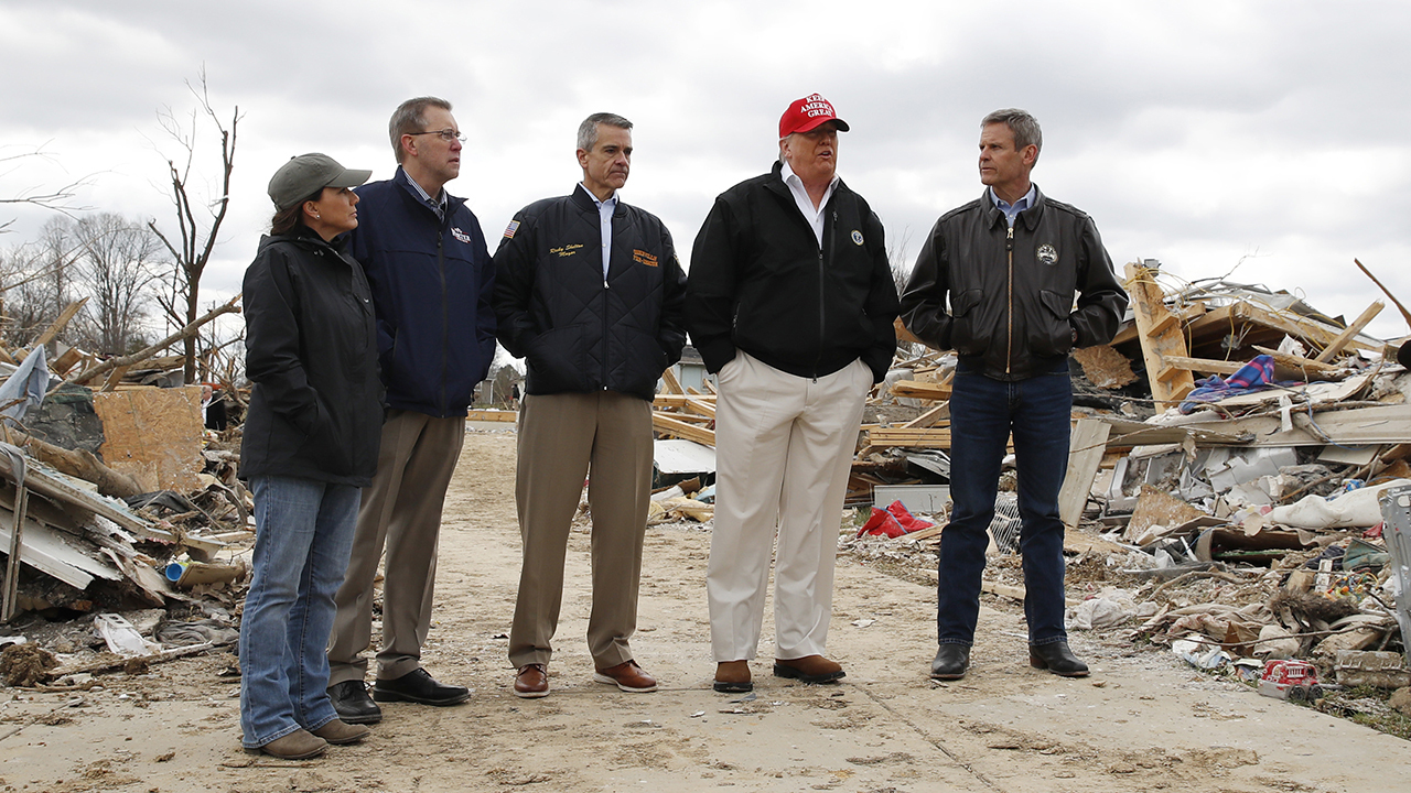 President Trump tours tornado damage in Tennessee