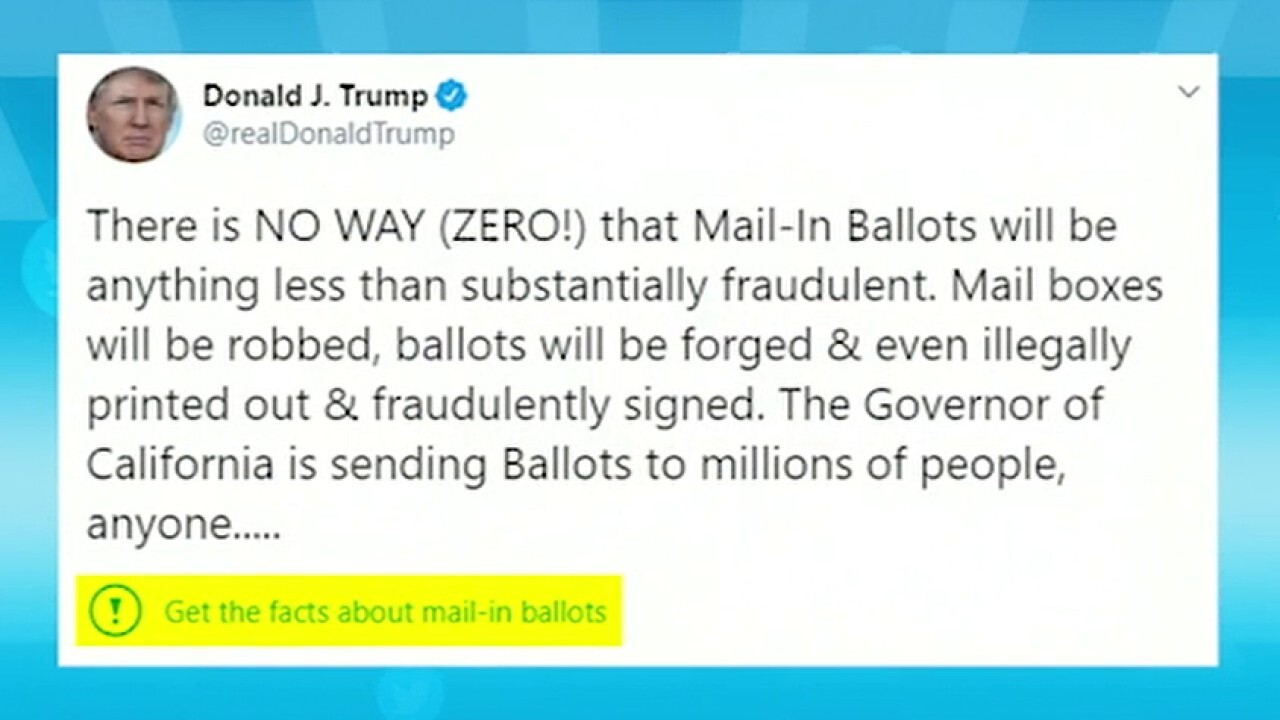 Twitter puts warning label on Trump's tweet on mail-in ballots