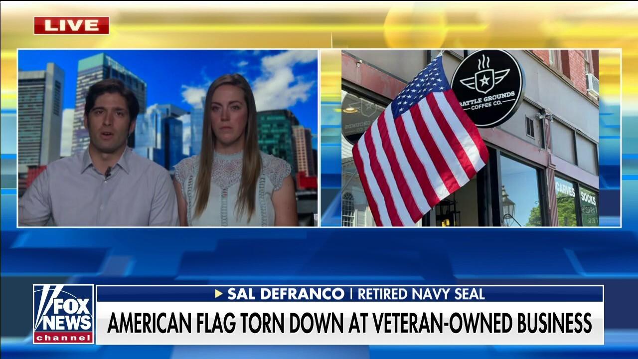 Veteran-owned coffee shop has American flag torn down