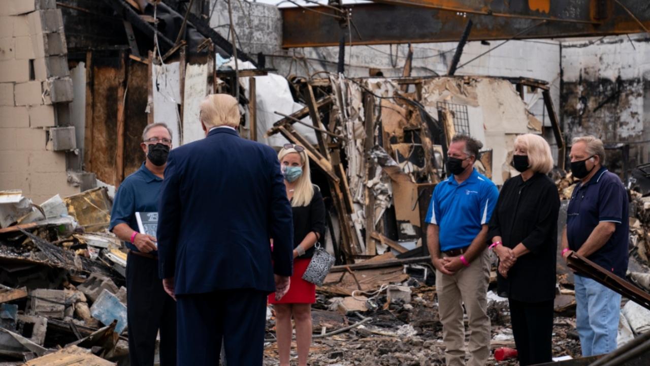 Trump visits Kenosha, gets up-close look at riot damage