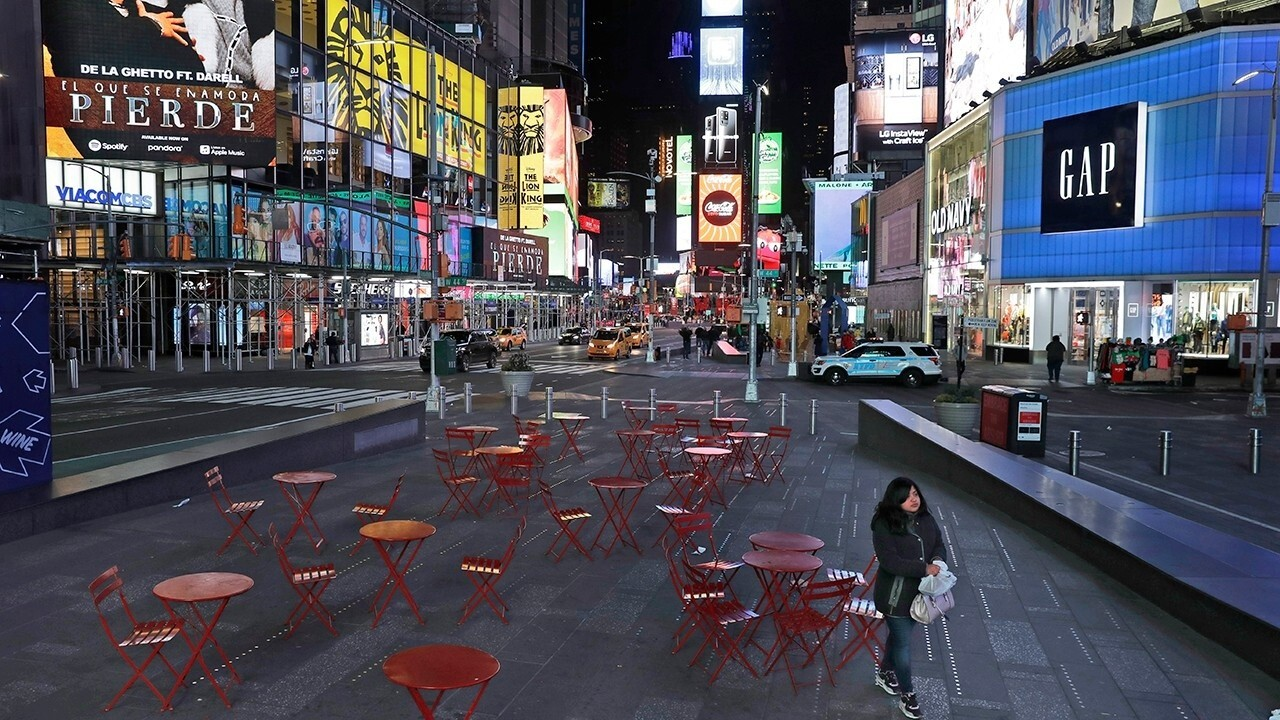 Times Square empty during morning rush hour in Manhattan