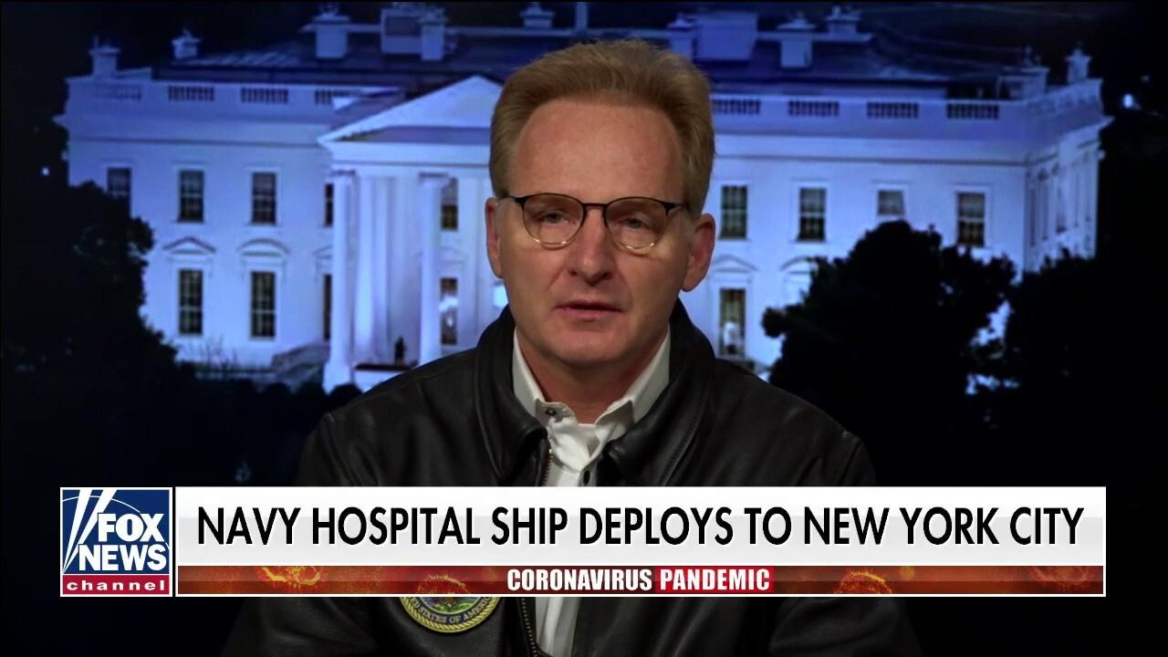 US Navy Secretary reacts after Navy hospital ship deploys to New York