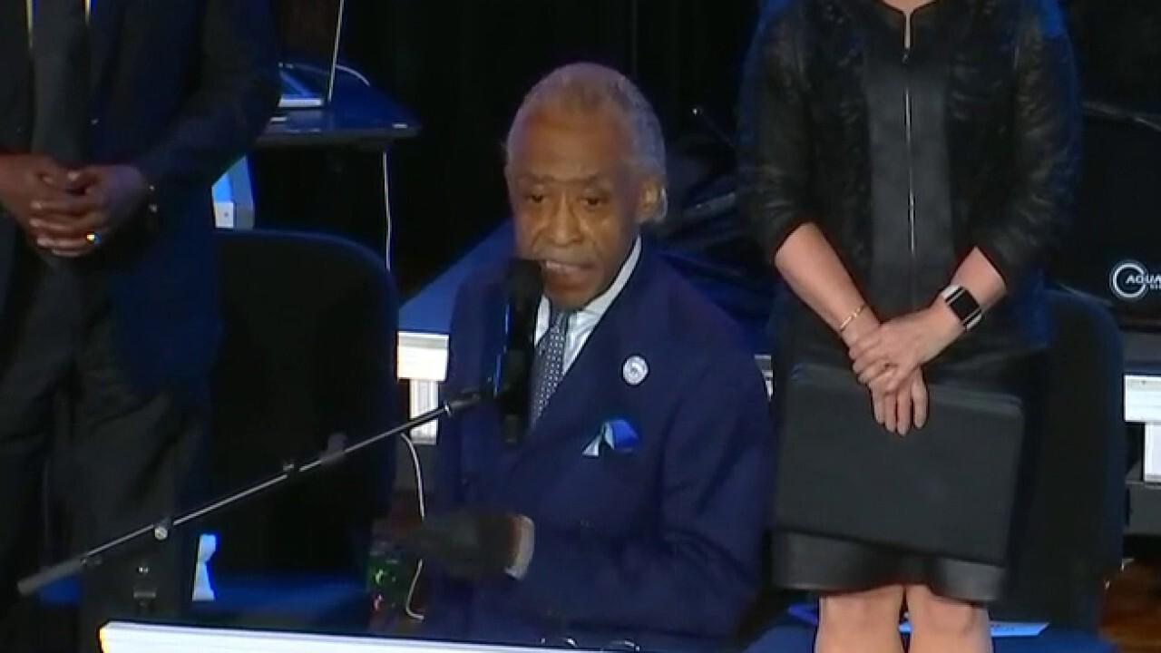 Rev. Al Sharpton honors George Floyd, takes swipes at President Trump in spirited eulogy