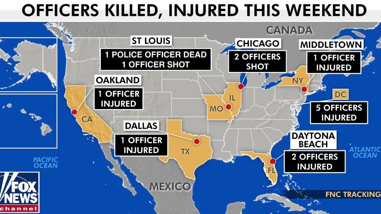 Officers across the US shot or injured during violent weekend