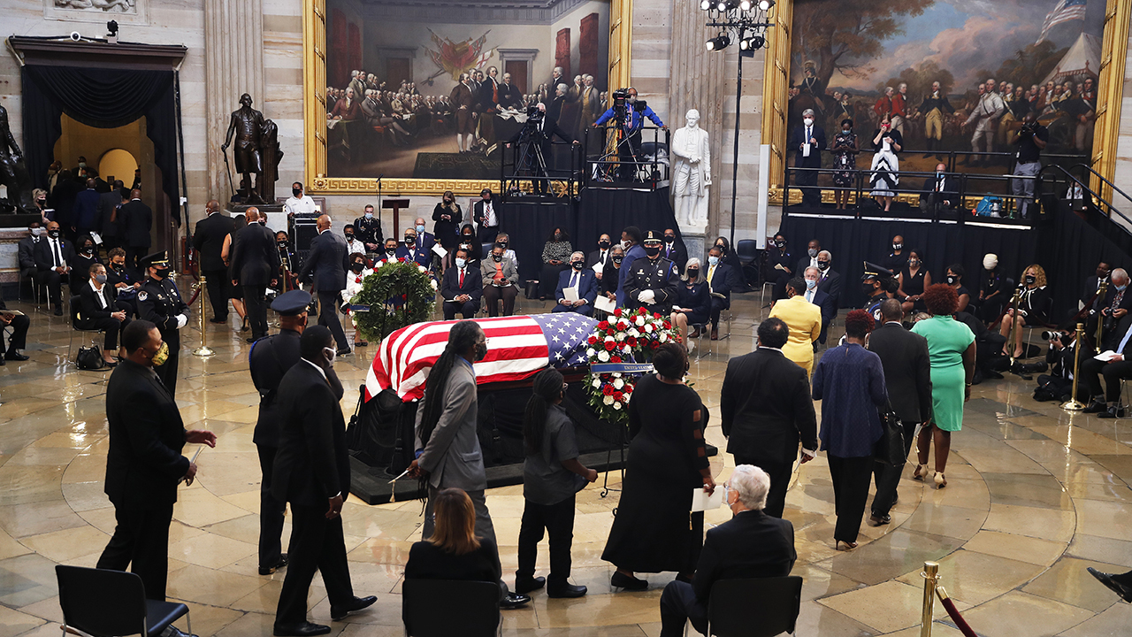 Rep. John Lewis lies in state at the US Capitol Rotunda for public viewing