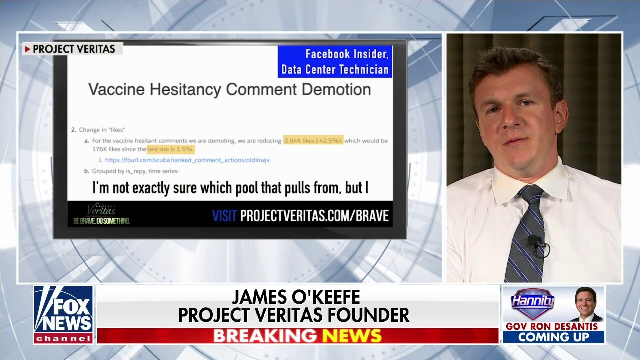 James O'Keefe reveals bombshell docs showing Facebook 'demoting' users based on 'vaccine hesitancy'