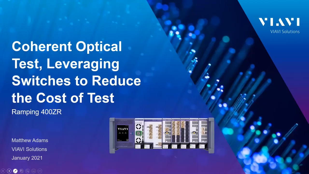 Coherent Optical Test, Leveraging Switches to Reduce the Cost of Test