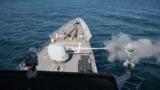 USS Leyte Gulf Fires MK-45 5-inch/62 Caliber Lightweight Guns