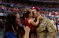 Staff Sgt. Cole Condiff Reunites with Family at Texas Rangers Game