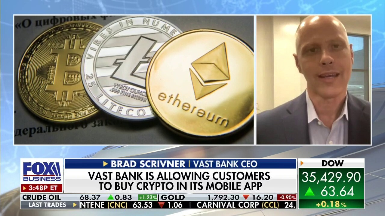Vast Bank CEO Brad Schrivner explains how the bank provides an easy way for customers to buy and sell cryptocurrency on 'The Claman Countdown.'
