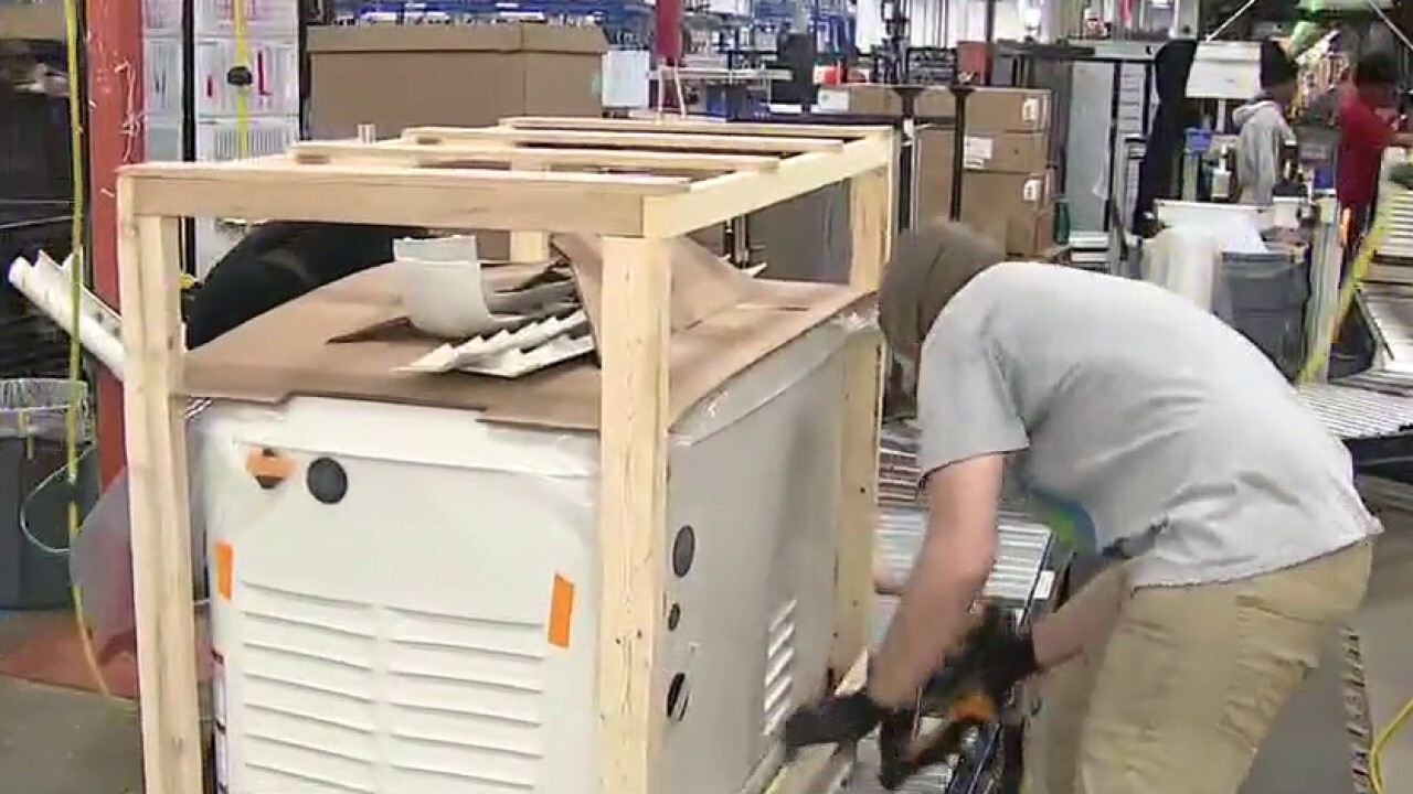 Generac's revenue is up 12.7 percent as the CEO tells FOX Business they can't make generators fast enough. Jeff Flock reports from the Generac plant floor in Whitewater, Wisconsin.