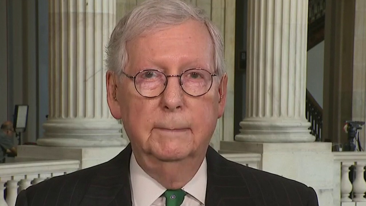 Senate minority leader calls the infrastructure package a 'work in progress'
