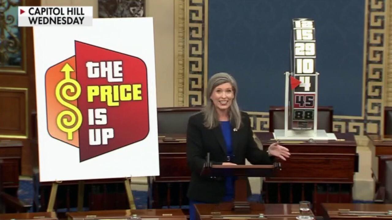 Iowa Sen. Joni Ernst plays an inflation game on the Senate floor and slams 'Bidenomics' for rising prices.