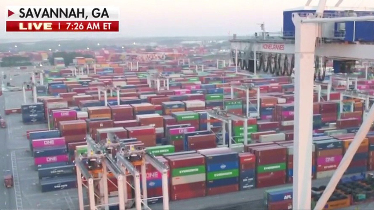 The Port of Savannah is trying to clear backlog of cargo ships. FOX Business' Ashley Webster with more.