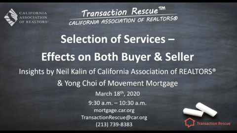 Transaction Rescue - Seller Selection of Services - Effects on both Buyer & Seller