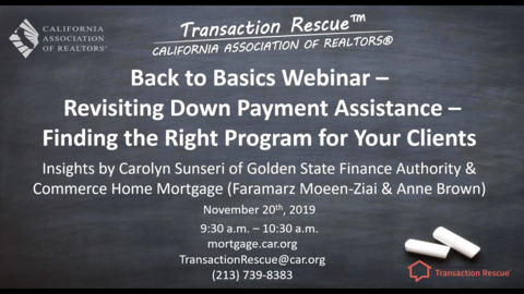 """Revisiting Down Payment Assistance - Alternatives  for Your Toolkit 11-20-19"""