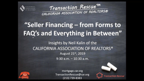 Transaction Rescues B2B Webinar - Seller Financing from Forms to FAQs and Everything in-Between