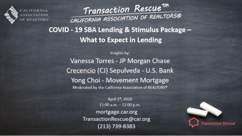 COVID–19- SBA and Residential Lending - What to Expect in Lending