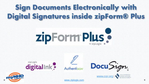 Sign Documents Electronically with Digital Signatures inside zipForm® Plus