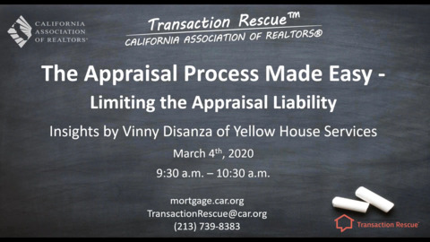 Transaction Rescue - B2B - The Appraisal Process Made Easy -  3-4-20