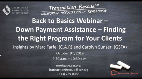 Transaction Rescue B2B Webinar - Down Payment Assistance Tool and Programs Available