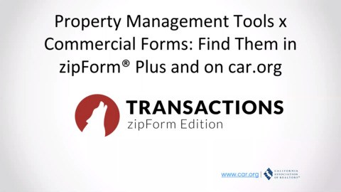 Commercial x Property Management features Inside Lone Wolf Transactions (zipForm Edition)