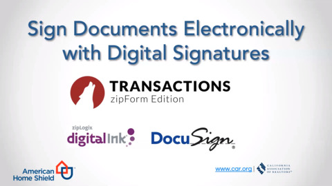 Sign Documents Electronically with Digital Signatures inside Lone Wolf Transactions (zipForm Edition)