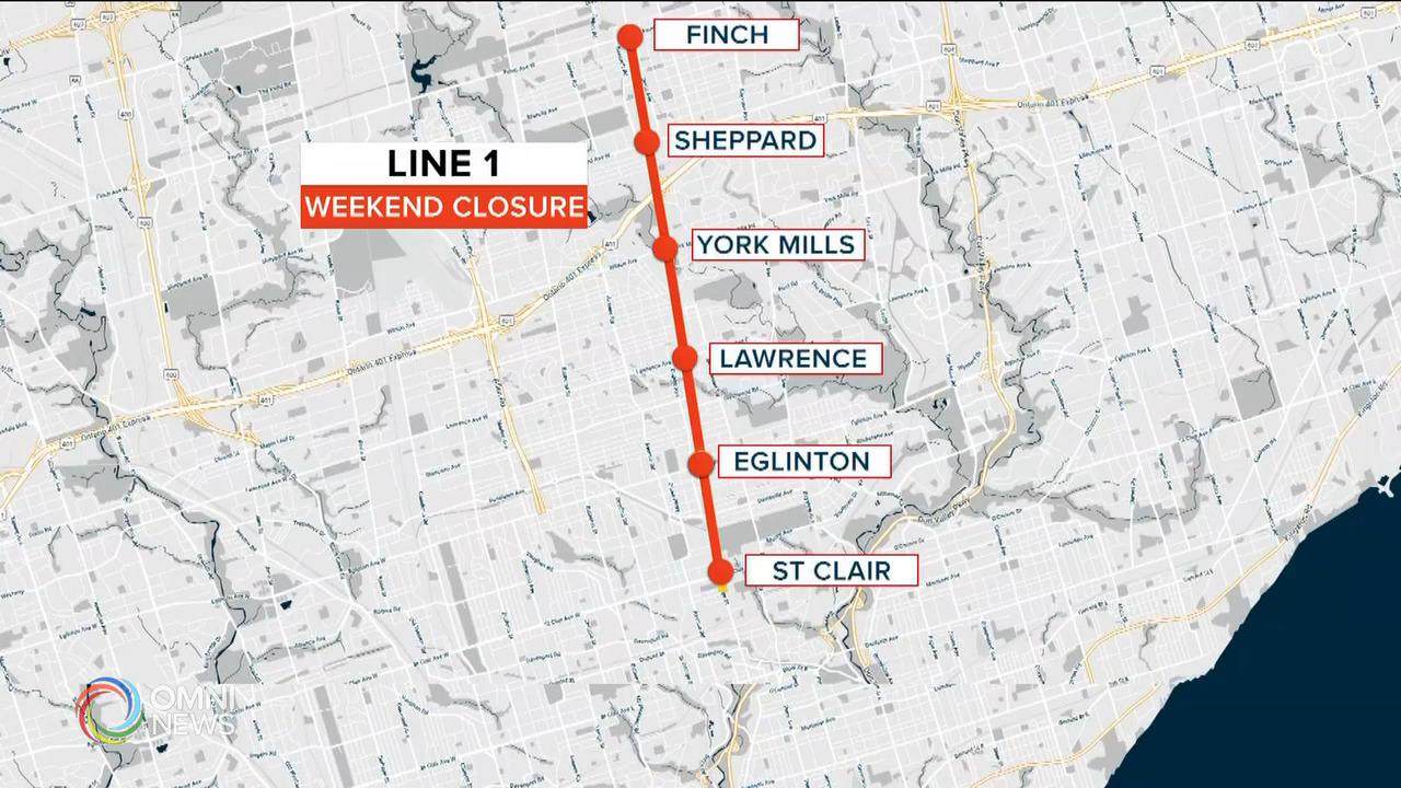 多倫多地鐵一號線8個車站周末關閉 — Jun 18, 2021 (ON)